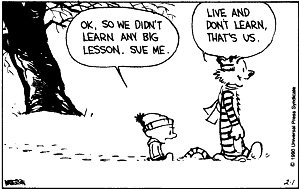 Calvin and Hobbes: Live and don't learn