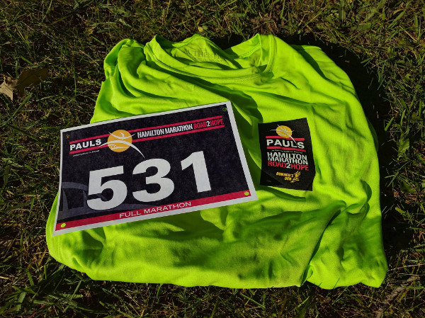 My Road2Hope shirt and bib, which I picked up on Saturday